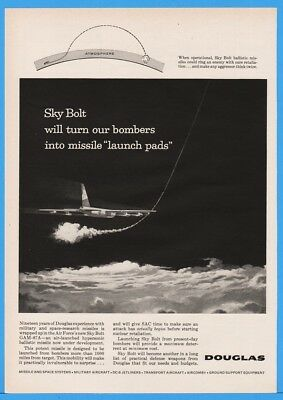 1960 Douglas Sky Bolt GAM-87A Missile Bombers Launch Pad US Air Force Space Ad
