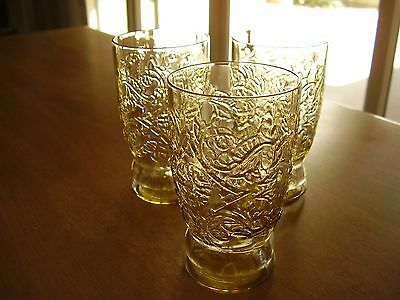 Madrid Amber Depression Glass Juice Tumblers Set of Three FREE SHIPPING.