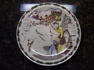 Vernon Kilns Ye Olde Tymes Holiday Theme Dinner Plate FREE SHIPPING