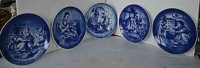 Vintage Cobalt Blue Plate Bareuther Bavaria Lot of 5 Mother's Day