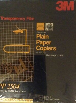 3M Transparency Film For Plain Paper Copiers PP 2504 (Black Image On Blue)