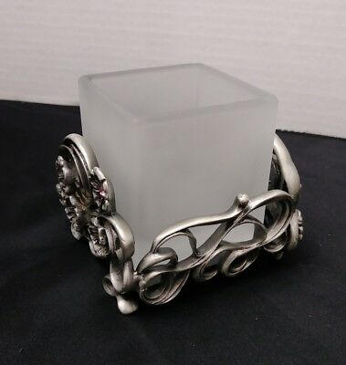 Partylite Jewels Square Votive Holder P7296 Retired Scrolled Pewter Original Box