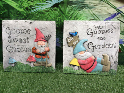 Gnomes themed cement garden plaque signs - gnome sweet gnome