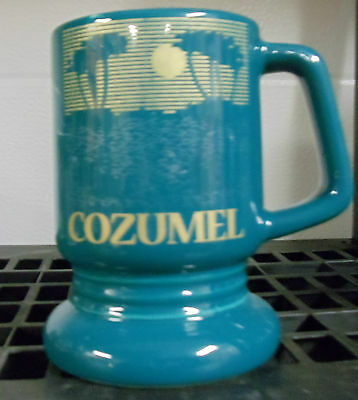 Cozomel Mexico High Gloss Ceramic Pedestal Mug Gold Image of Sunrise Souvenir