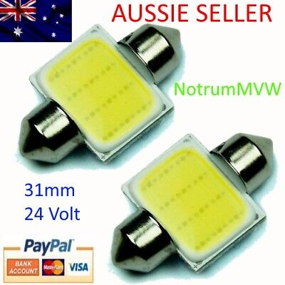 4x 24V Festoon 31mm COB LED White Light C5W Truck 4wd Caravan Bus Bulb Globe