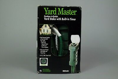 Woods Yard Master 13547 Outdoor Yard Stake W/ Built-In Timer 6-Outlets 6-Ft Cord