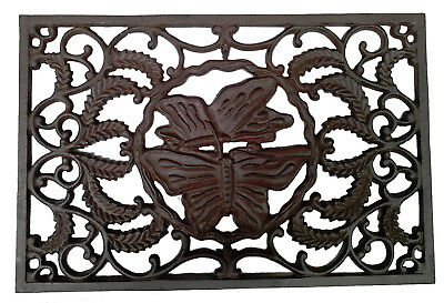 CAST IRON Doormat Lovely 'Butterflies' Style Solid QUALITY 58cm x 39cm STUNNING