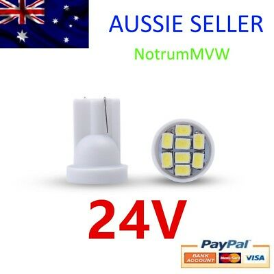 2x 24V LED BRIGHT White Light 4wd Caravan Bus Truck 8SMD 1026 W5W 194 6000k