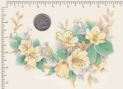 """1 x Waterslide ceramic decal Large Yellow floral Flowers Approx. 7"""" x 5"""" PD98a"""