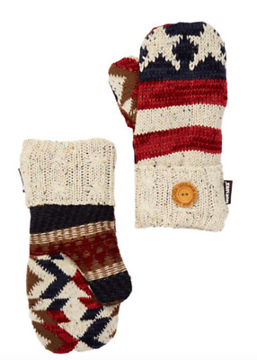 Muk Luks Americana Flag Stars and Stripes Knit Mittens One Size B75 NWT
