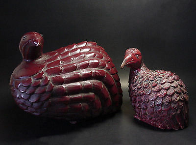 VINTAGE SOUTHEAST ASIA PRIMITIVE WOOD-CARVED PRAIRIE BIRDS, CIRCA: 1880 - 1930's