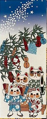 Japanese traditional towel TENUGUI Maneki neko HAPPY CAT TANABATA STAR