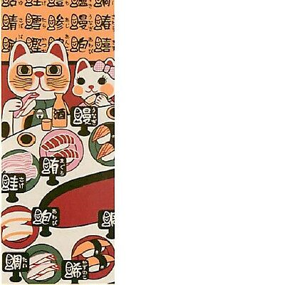 Japanese traditional towel TENUGUI Maneki neko Happy Cat SUSHI