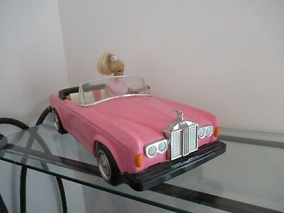 ♥ Ancienne Voiture Barbie Rose Rolls Royce 1970 Made In Hong Kong