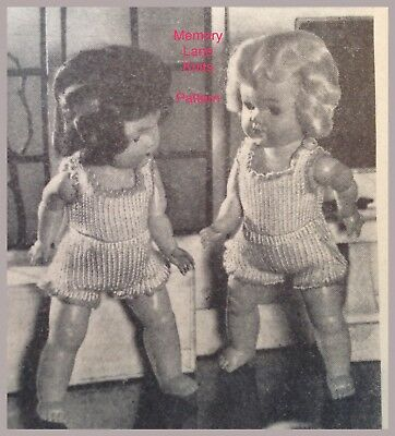 """Pretty Undies Vest & Panties Doll's Clothes Vintage Knitting PATTERN 7.5"""" A63"""
