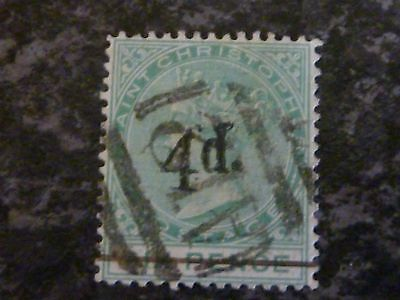 St Christopher Postage Stamps Sg25 4D On 6D Very Fine Used 1886