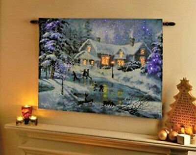 LED Fibre Optic Wall Tapestry Light Up Christmas Decoration Winters Scene