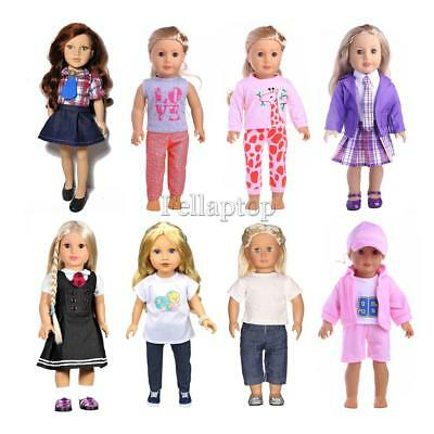 8 Sets Dolls Dress Outfit for 18'' American Girl Dolls Clothing Accessory