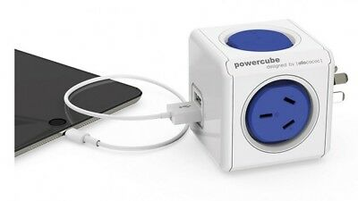 Allocacoc Powercube Original with 2 power outlet and 2 x USB 2.1A Red Dot award