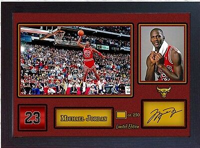 Michael Jordan Chicago Bulls signed autograph NBA Basketball Memorabilia Framed