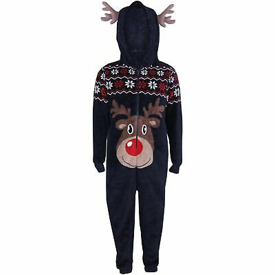 Kids Girls Boys A2Z Onesie One Piece Soft Fluffy Reindeer Halloween Costume 7-14