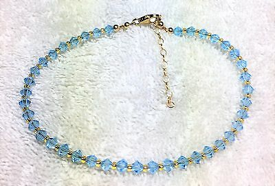 Aquamarine Crystal Gold Filled Adjustable Anklet #299