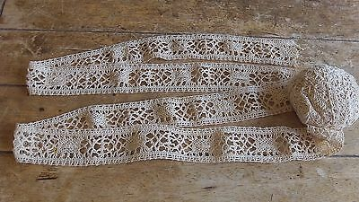 French Vintage Traditional Hand Made Cotton Lace  1 m x 4.5 cm