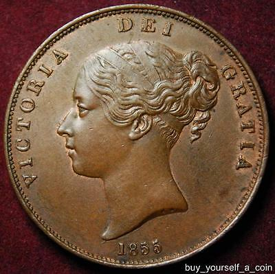 GB Queen Victoria copper penny 1855 OT - NICE!!!