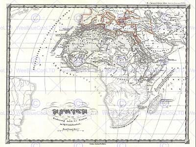 1855 Spruner Map Africa To Arab Conquests In 7Th Century Poster Print 2923Py