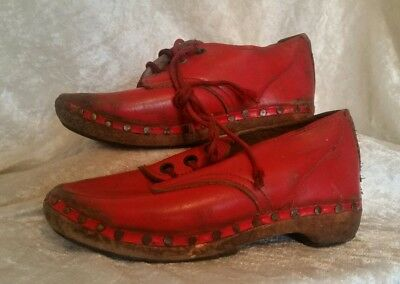 Antique Vintage Red Leather Handmade Childs Childrens Shoes Clogs Wooden Soles