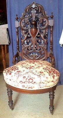 Antique Solid Mahogany Victorian Gothic Revival Carved Back Chair Lions 1800's