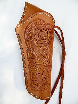 """Cross Draw Western Holster- DeLuxe -Right - 6"""" Barrel - Natural - Tooled Leather"""