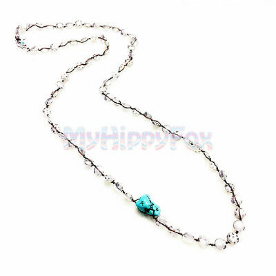 2780c810c8a53 LUCKY BRAND SILVER Tone Turquoise Stone Hammered Coin Bead Strand Necklace