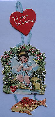 Rare Valentine 3 Hanging Sections Ribbon - Boy Fishing  - Printed Germany