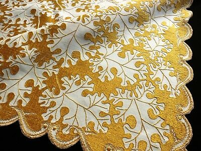 "OAK LEAVES c1900 Antique 34"" Tablecloth SOCIETY SILK HAND EMBROIDERY Linen FALL"