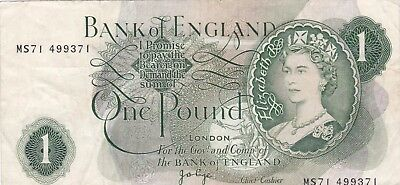 Miss Cut Error B323 Replacement Page £1 Ms71 Bank Of England Note In Very Fine