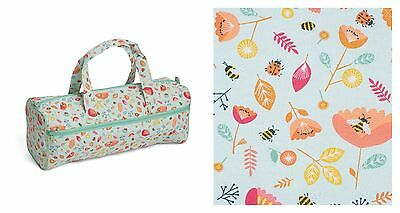 PREMIUM QUILTED KNITTING BAG Bees and Ladybirds Zipped Duck Egg