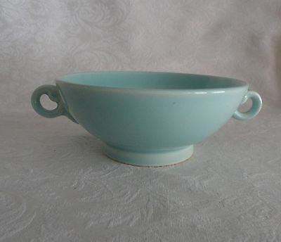 Rare LuRay TS&T  Footed Cream Soup Bowl Handles -  SURF GREEN   PERFECT