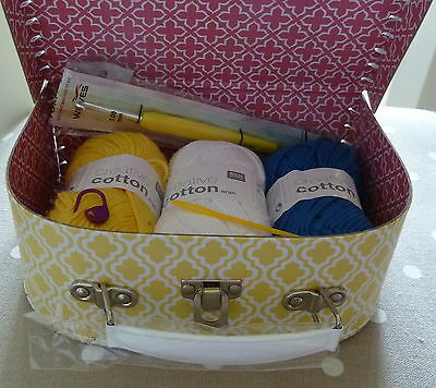 CROCHET GIFT SET  KNITPRO 5mm HOOK RICO COTTON ARAN Sass & Belle Moroccan Case