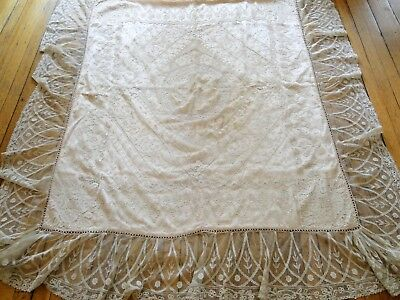 Circa 1900,graceful French Lace Chaise Cover W/ornate Laces,figural Lace