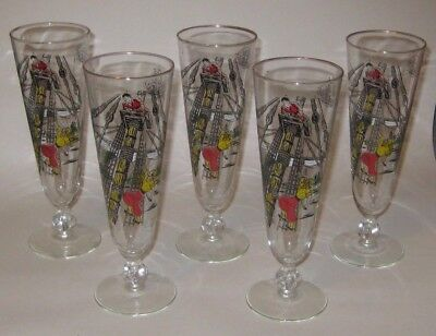 PILSNER Glasses w/TREASURE Island PIRATES Vintage LIBBEY Glass DISNEY