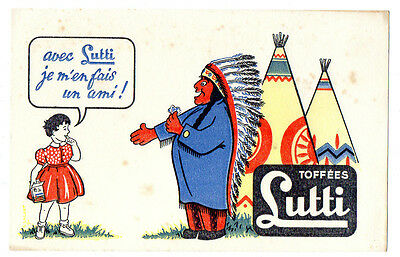 Buvard publicitaire Toffées Lutti teepee indien