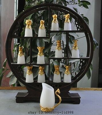 China Gilt Natural White jade Carved 12 Zodiac Animal Wine Cup Wineglass Teacup