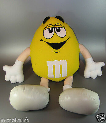 "Vintage Large 26"" M&M Mars Candy Yellow Pleather Boots Embroidered Plush Stuffed"