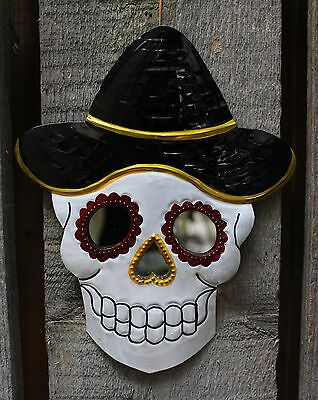 Day of the Dead Stamped Tin Sugar Skull Mirror with Black Hat Mexican Folk Art