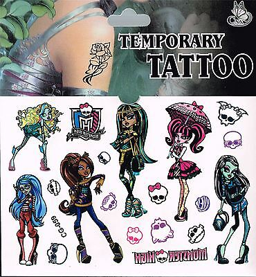 Single Packet/Sheet MONSTER HIGH Tattoo Party Bag Temporary Tattoo's