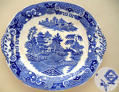 "William Ridgway: 'Two Temples Pattern' Blue Flow Platter: 10½"" Long"
