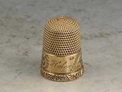 19th Century Gold Thimble 'HELEN' Unmarked c1880