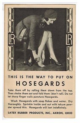Hosegards Trade Card 1916 Latex Rubber Products Akron Ohio Stockings