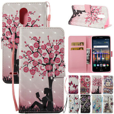 Patterned Leather Card Holder Lanyard Wallet Case Flip Cover For LG Stylo 3 Plus